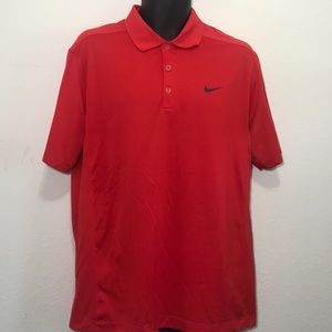 Nike Golf Mens Dri Fit Polyester Red Polo Shirt L